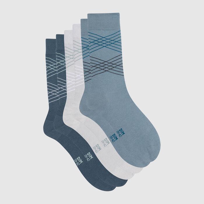 Cotton Style pack of 3 pairs of men's tartan socks Grey Blue, , DIM