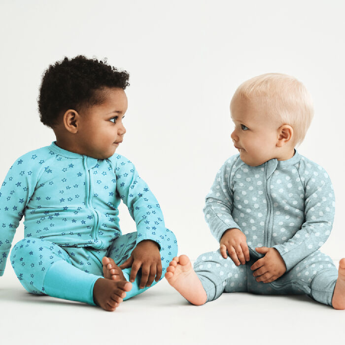 Dim Baby pyjama with zip up light blue cotton stretch pyjama with star rain print, , DIM
