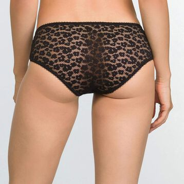 Black laced and printed shorty Leopard Line, , DIM