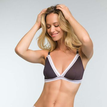 Triangle Grey bra in cotton Softly Line, , DIM