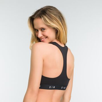 Black non-wired racerback bra - DIM Originals, , DIM