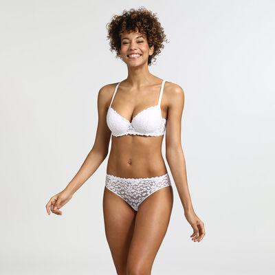 Dim Blooming Lace white lace push-up balconette bra , , DIM