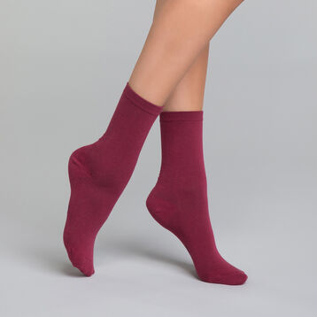 Burgundy women's socks in cotton - Dim Basic Coton, , DIM
