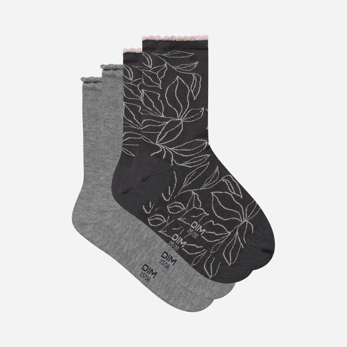 Dim Bamboo Pack of 2 pairs of  XL Light Grey leaf pattern socks for women, , DIM