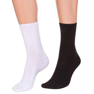 Pack of 2 pairs of black and white mid calf socks for women, , DIM