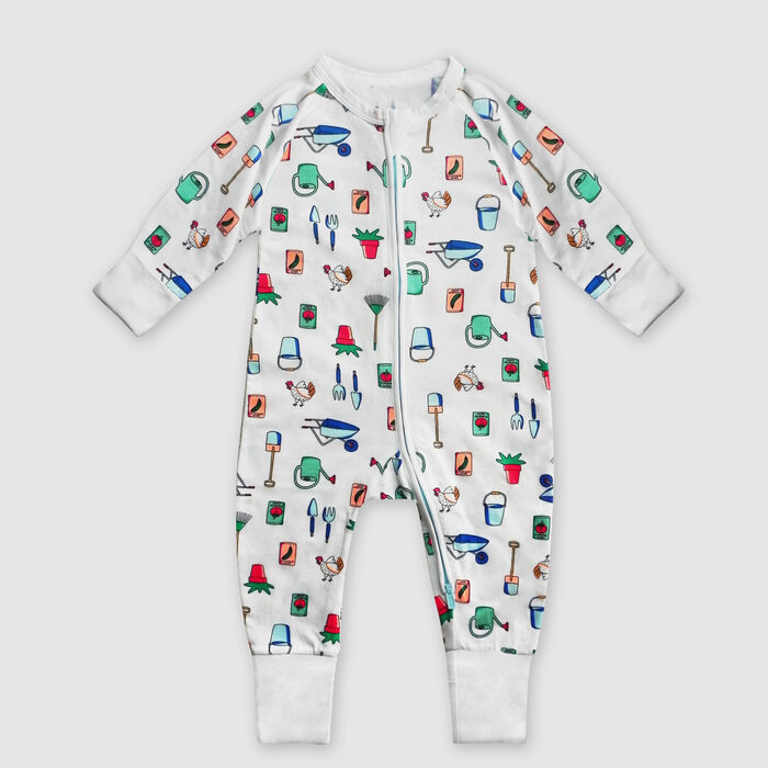 Dim Baby White stretch cotton baby pyjama with zip and garden print, , DIM
