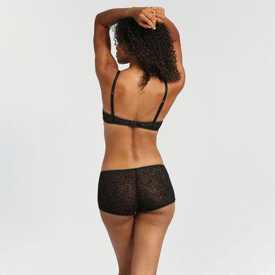 Chic Line precious black tulle and velvet push-up triangle bra, , DIM