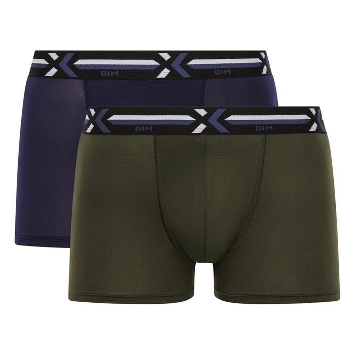 Lot de 2 boxers vert kaki et bleu cobalt Xtemp Activ , , DIM