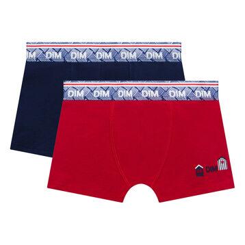 Lot de 2 boxers garçon bleu et rouge imprimé - Deauville, , DIM