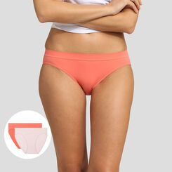 2 pack ballerina pink and coral pink briefs EcoDim Les Pockets, , DIM
