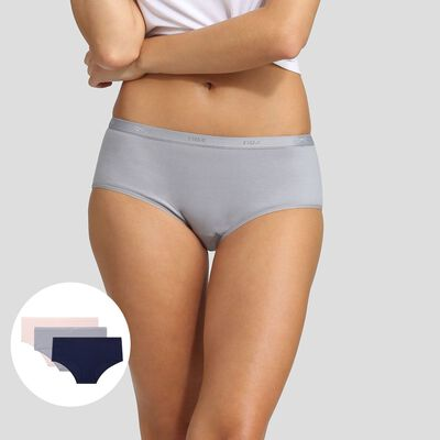 Lot de 3 boxers en coton stretch bleu, gris et rose Les Pockets EcoDim, , DIM