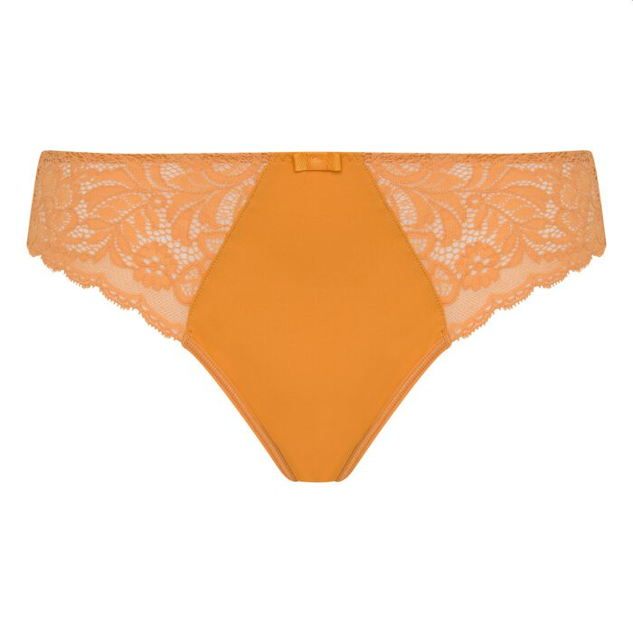 Dim Sublim Dentelle desert yellow lace and microfibre briefs, , DIM