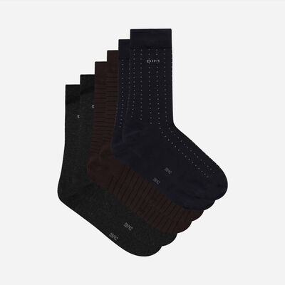 Pack of 3 Pairs of Men's Brown Cotton Style Striped Socks, , DIM