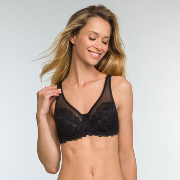 Black lace full cup bra Generous Essentiel , , DIM