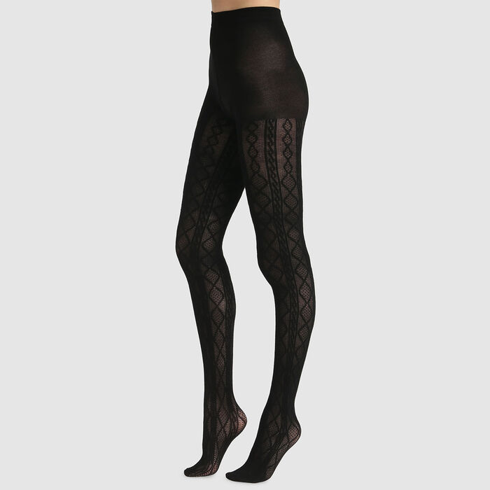Dim Style cable print fancy tights, , DIM