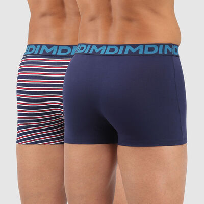 Lot de 2 boxers homme coton stretch bleu imprimé rayures Mix and Fancy, , DIM