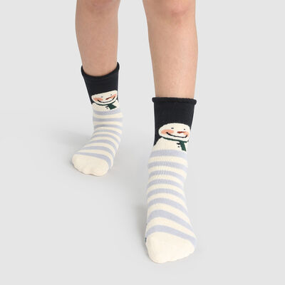 Non-slip Cocoon Reindeer Christmas in Ivory Grey Kids Socks , , DIM