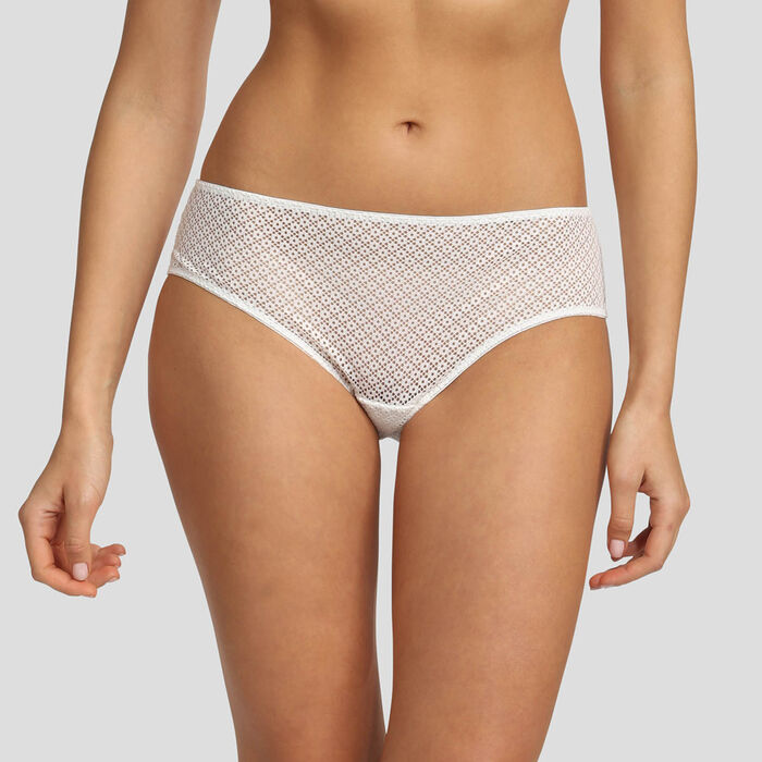 Dim Résille Chic white lace briefs, , DIM