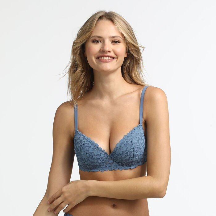 Blooming Lace Dim Padded  balconette bra in antique blue, , DIM