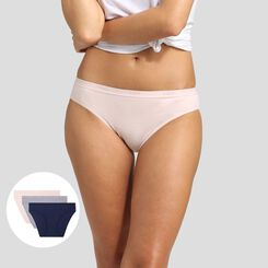 3 pack blue, nude pink, grey briefs in cotton stretch Les Pockets EcoDim, , DIM