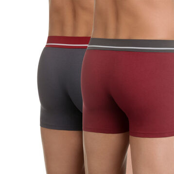 Pack of 2 pairs of Soft Touch stretch cotton trunks in red and grey, , DIM