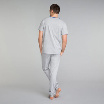 Mottled grey pyjama T-shirt with blue details - Essential, , DIM