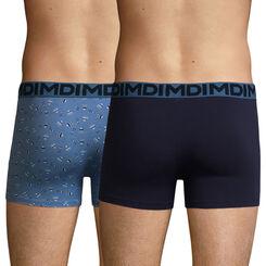 2 Pack stretch cotton trunks Winter Print and Denim Blue Mix & Fancy, , DIM