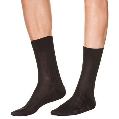 Lot de 2 chaussettes noires en fil d'Ecosse Homme, , DIM