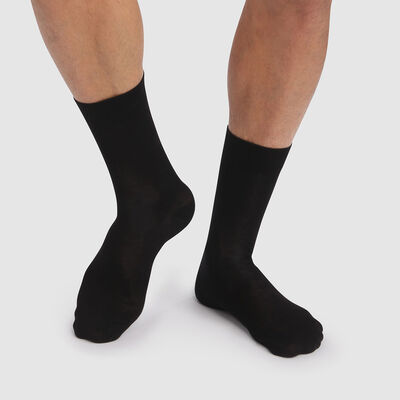 Green by Dim 2 pack men's socks in black lyocell cotton , , DIM