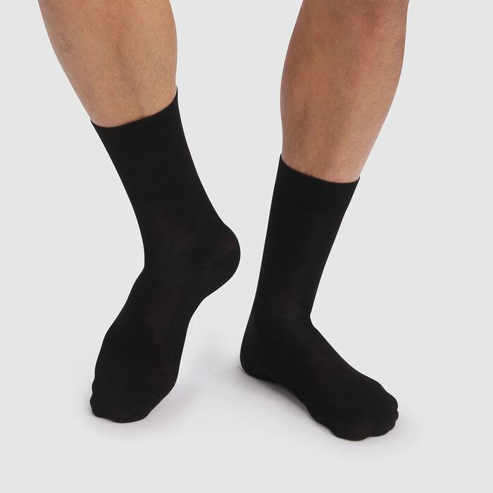 Lot de 2 paires de chaussettes hommes noires coton lyocell Green by Dim , , DIM