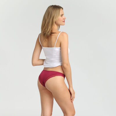 Dim Green Panty Box varnish red cotton and lace thong, , DIM