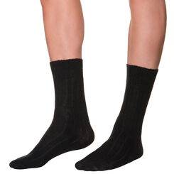 Black mid calf socks in wool and cashmere for men, , DIM