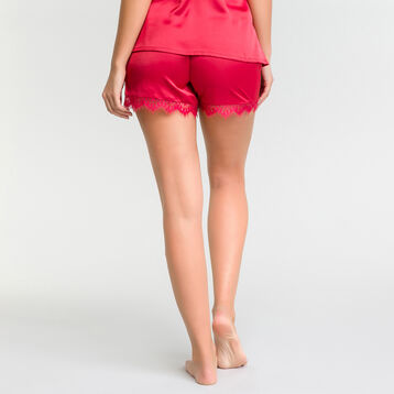 Satin ruby pink pyjama shorts with lace - Glamour, , DIM