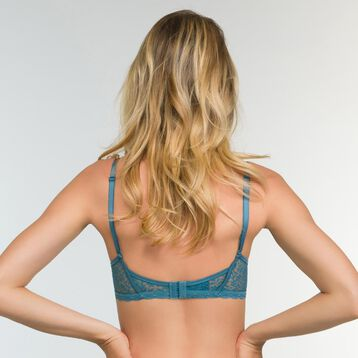 Push-up Triangle Bra in Bluish Green Lace Daily Glam Trendy Sexy, , DIM