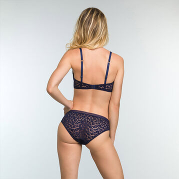 Culotte en dentelle Bleu Infini pour femme Leopard Line, , DIM