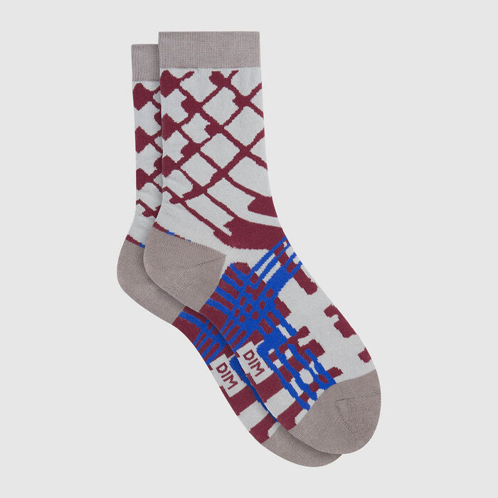 Mixed combed cotton sock reindeer blue paint Color Sox, , DIM