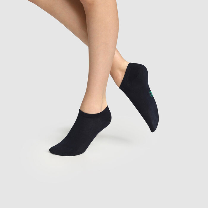 Pack de 2 pares de calcetines bajos para mujer de algodón bio azul Green by Dim, , DIM
