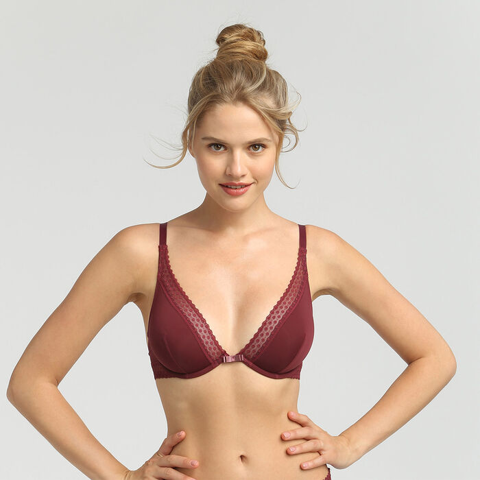 Dim Trendy Micro deep chocolate underwired triangle bra, , DIM