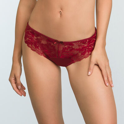 Cherry red microfiber and lace brief Generous Essential , , DIM