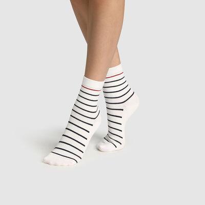 """Хлопковые женские носки с принтом """"Полоска"""" синего, белого и красного цвета. Сделано во Франции, , DIM"""