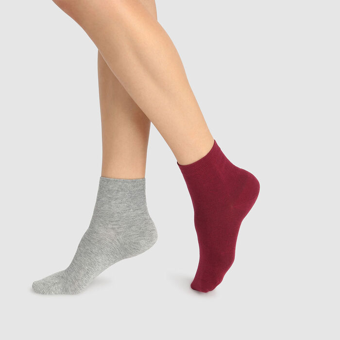 Basic Cotton pack of 2 pairs of women's ankle socks Burgundy Light Grey, , DIM