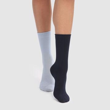 Dim Modal 2 pack women's modal crew socks in navy blue, , DIM