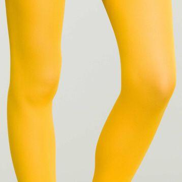 Women's Opaque Velvet Tights in Mustard Yellow Dim Style, , DIM
