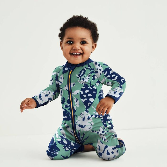 Green Tropical Print Cotton Stretch Zipped Pyjama Dim Baby, , DIM