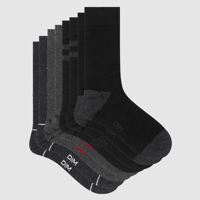 Pack of  4 pairs of men's socks with navy motif in Les Bons Plans Grey, , DIM