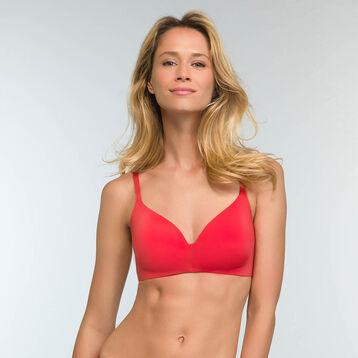 Casual red microfiber triangle push up bra InvisiFree, , DIM