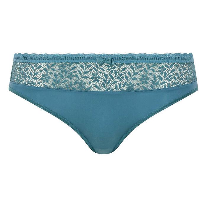 Culotte Verte Bleutée en dentelle et microfibre Daily Glam Trendy Sexy, , DIM