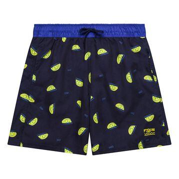 Dark swim shorts with lemon prints - Bain Citrons, , DIM