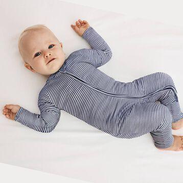 Cotton Stretch Zipped Pyjama with white and dark grey stripes Dim Baby, , DIM