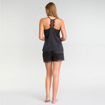 Satin pyjama cami with black lace - Glamour, , DIM